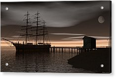 Acrylic Print featuring the digital art Sitting At The Dock Of The Bay by Walter Colvin