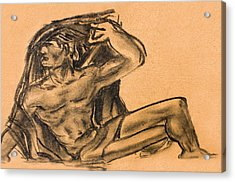 Sitting Human Charcoal Drawing  Acrylic Print by Odon Czintos
