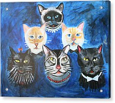 Six Cats Acrylic Print by Cheryl Scribner