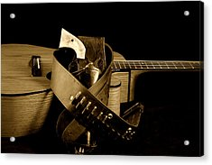 Six Gun In Holster And Guitar Acrylic Print