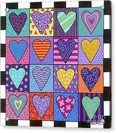 Acrylic Print featuring the painting Sixteen Hearts by Carla Bank