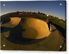 Skateboarding In A Skate Park Acrylic Print by Bill Hatcher