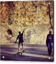 Skateboarding Acrylic Print