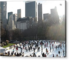Skating In Central Park  Acrylic Print by Kathryn Barry