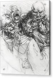 Sketch After Leonardo Acrylic Print by Mack Galixtar