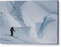 Ski Mountaineer Tom Day Above Big Acrylic Print by Gordon Wiltsie