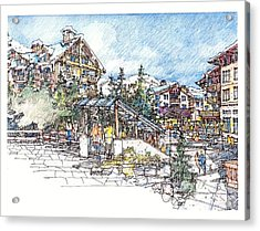 Acrylic Print featuring the drawing Ski Village by Andrew Drozdowicz