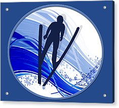 Skiing And Snowflakes Acrylic Print by Elaine Plesser