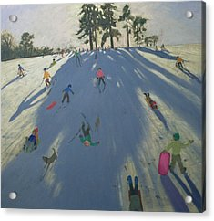 Skiing Acrylic Print by Andrew Macara