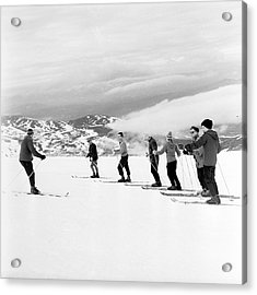 Skiing Lesson Acrylic Print by John Drysdale