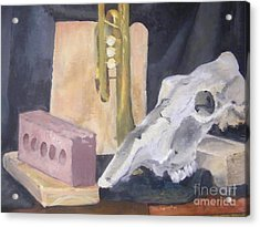 Skull And Brick Acrylic Print by Delores Swanson