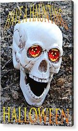 Skull Halloween Card Acrylic Print by Debra     Vatalaro