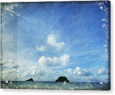 Sky And Cloud On Old Paper Acrylic Print by Setsiri Silapasuwanchai