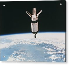 Skylab 3 Expended Second Stage In Earth Acrylic Print by NASA / Science Source