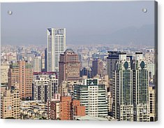 Skyline Of Downtown Taipei On A Smoggy Day Acrylic Print