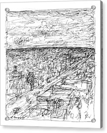 Skyline Sketch Acrylic Print by Elizabeth Carrozza