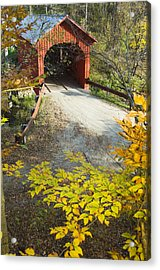 Slaughter House Bridge And Fall Colors Acrylic Print by James Forte