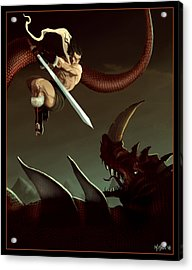 Acrylic Print featuring the digital art Slay The Dragon by Michael Myers