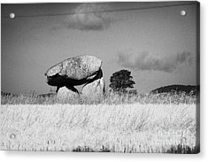 Slidderyford Or Wateresk Dolmen Situated In The Middle Of A Field Of Barley In County Down Northern  Acrylic Print by Joe Fox