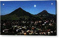 Slo Setting Moon Acrylic Print by TB Schenck