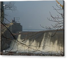 Small Dam In Fog Acrylic Print