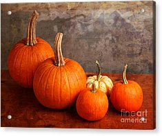 Acrylic Print featuring the photograph Small Decorative Pumpkins by Verena Matthew