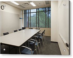 Small Empty Boardroom With A Long Acrylic Print by Marlene Ford