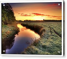 Small River At Sunrise Acrylic Print by H-L-Andersen