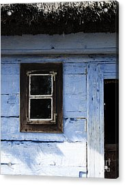 Small Window On Blue Wall Acrylic Print by Agnieszka Kubica