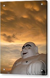 Smiling Fat Thai Buddha Under Mammocumulus Clouds Acrylic Print by Gary Heiden