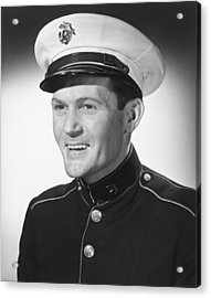 Smiling Man In Military Uniform Posing In Studio, (b&w), Portrait Acrylic Print by George Marks