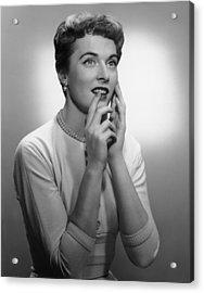 Smiling Woman Posing In Studio, (b&w) Acrylic Print by George Marks