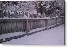 Snow Along A Fence Acrylic Print by Jeannette Brown