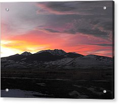 Snow Covered Mountain Sunset Acrylic Print by Adam Cornelison