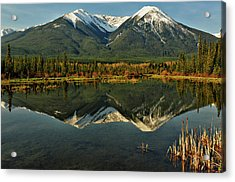 Snow Covered Peaks Of Canadian Rockies Acrylic Print by Jeff R Clow
