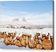 Snow Covered Rock Wall Acrylic Print by Thom Gourley/Flatbread Images, LLC