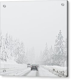 Snow-covered Rural Highway Acrylic Print by Dave & Les Jacobs
