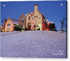 Snow Covered Yard And Stone House Acrylic Print by Jeremy Woodhouse