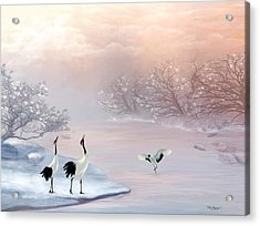 Snow Cranes Acrylic Print by Thanh Thuy Nguyen