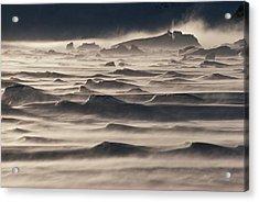 Snow Drift Over Winter Sea Ice Acrylic Print by Antarctica