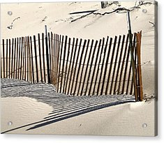 Snow Fence Shadows Acrylic Print by Richard Gregurich