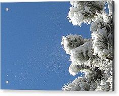 Snow Flakes Against A Blue Sky Acrylic Print