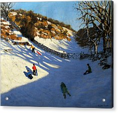 Snow In The Valley Acrylic Print by Andrew Macara