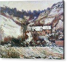 Snow Near Falaise Acrylic Print by Claude Monet