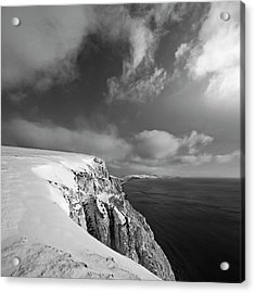 Snow On Highdown, Freshwater, Isle Of Wight Acrylic Print by s0ulsurfing - Jason Swain