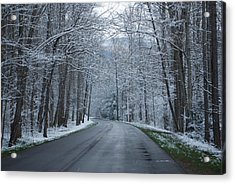 Snow On The Road Acrylic Print by Carrie Munoz