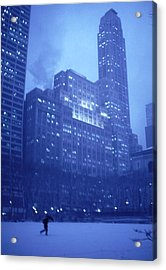 Acrylic Print featuring the photograph Snow Storm Bryant Park New York City by Tom Wurl