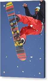 Snowboard Jumping On Vogel Mountain Acrylic Print by Ian Middleton