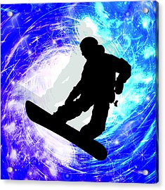 Snowboarder In Whiteout Acrylic Print by Elaine Plesser