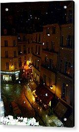 Snowfall In Paris Latin Quarter Acrylic Print